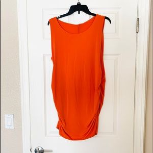 NWT Zenana Outfitters Orange Ruched sides Tank Top